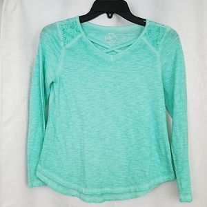 SO Brand Teal Lace Embellished Tee Size 10